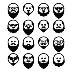 Bald man with beard and mustache icons set