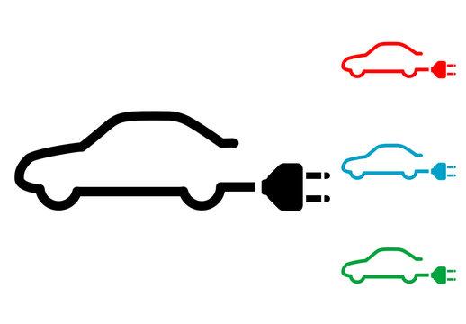 Pictograma coche electrico con varios colores