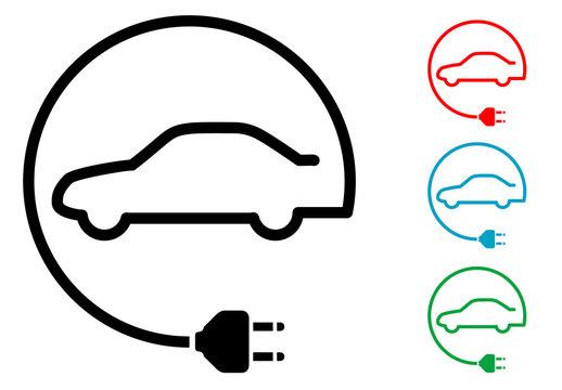 Pictograma coche electrico en circulo con varios colores