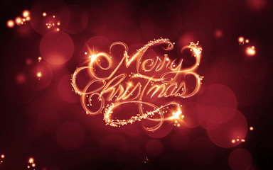 merry christmas beautiful gold text red light background
