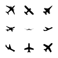 Vector black airplane icon set