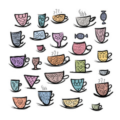 Set of ornate mugs. Sketch for your design