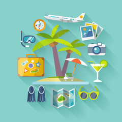 Travel business flat icons set. Vector illustration.