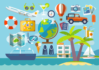 Travel vacation flat design set. Travel banner.