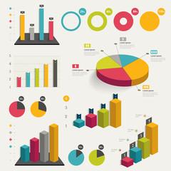Set of business flat, 3D design graph.