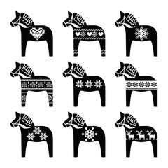 Swedish Dala, Dalecarlian horse with winter, Nordic pattern