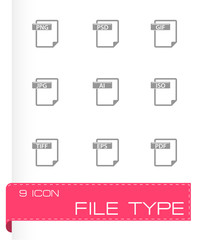 Vector file type icons set