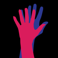 Vector silhouette of the hands.