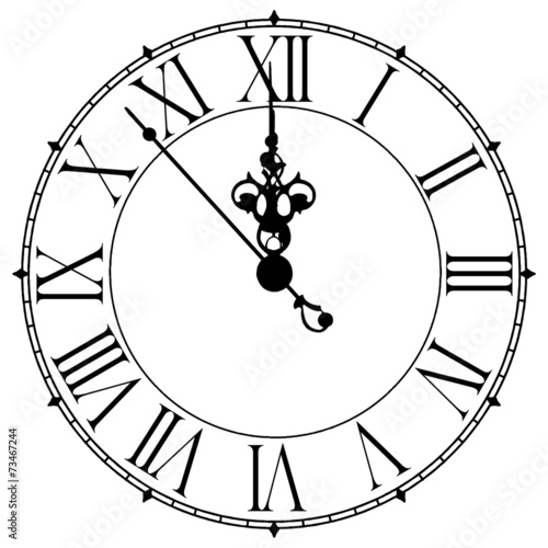 Quot Image Of An Old Antique Wall Clock 7 Seconds To Midnight