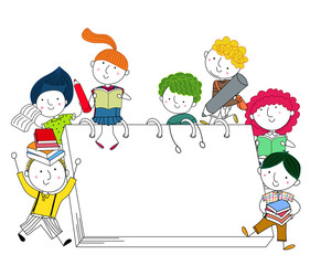 Doodle Illustration Featuring Kids Playing Around Giant Books