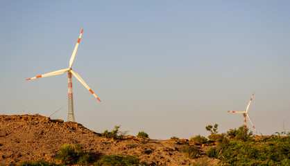 Windmills in desert