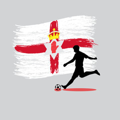 Soccer Player action with Northern Ireland flag on background
