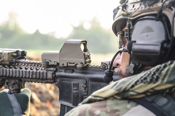 American Soldier aiming a rifle