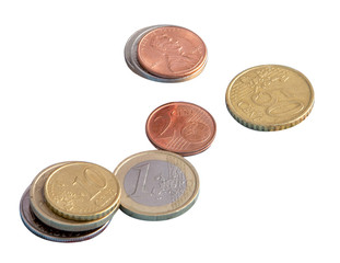 Coins, the euro, money, isolate