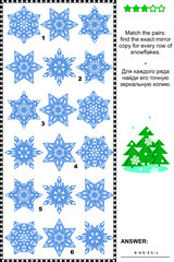 Visual riddle with rows of snowflakes