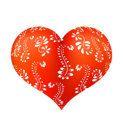 Red three-dimensional heart with floral ornament with white. Vec