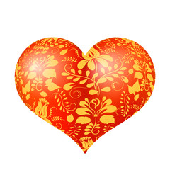 Red three-dimensional heart with floral gold ornament, highlight