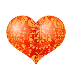 Red three-dimensional heart with floral gold ornament. Vector il