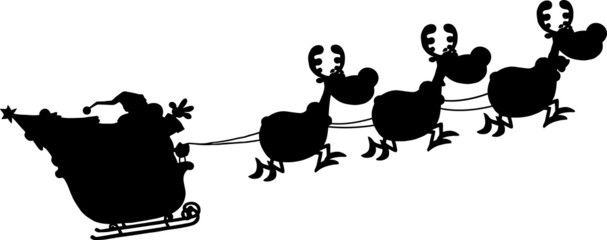 Black Silhouettes Of Santa Claus In Flight With His Reindeer