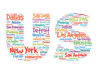 US Hand drawn letters with cities names words cloud, vector