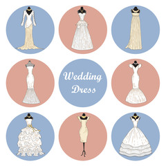 Vector illustration with beautiful wedding dresses