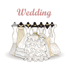 Vector illustration with wedding dresses