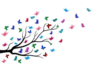 butterflies flying among the branches of trees