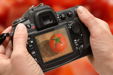 digital camera photographing vegetables back side