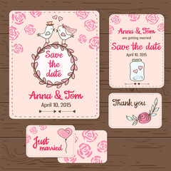 Hand drawn set of wedding cards and invitations