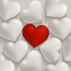 Romantic white and red hearts valentines vector background