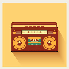 Classic 80s Boombox Portable Cassette Tape Player Vector