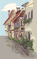 European city house. Vector illustration