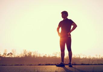 Young man before start running