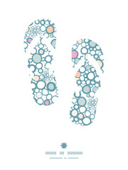 Vector colorful bubbles flip flops silhouettes pattern frame