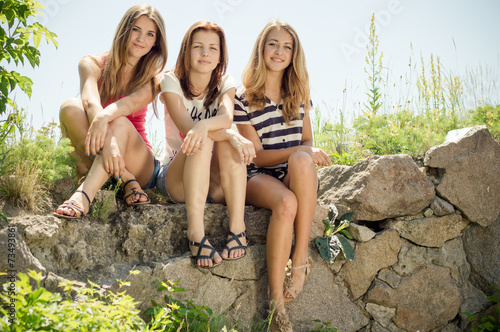 3 girlfriends cute teenage girls having fun \