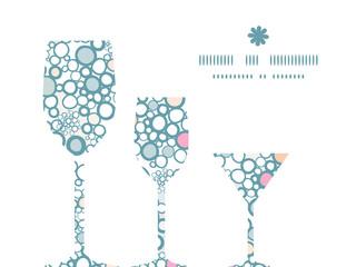 Vector colorful bubbles three wine glasses silhouettes pattern