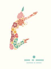 Vector abstract decorative circles jumping girl silhouette