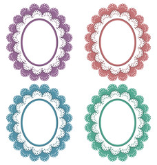 Four lace multicolored frames isolated on white