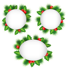Three blank grayscale frames with holly sprigs and pine branches
