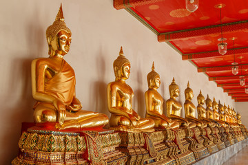 Buddha statue in the public temple at bangkok thailand
