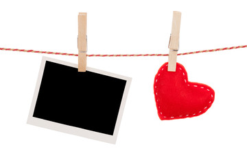 Photo frame and valentines day toy heart