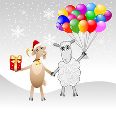 goat and sheep with a gift and air marbles