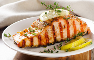 Grilled Salmon with lemon, olives and fresh thyme