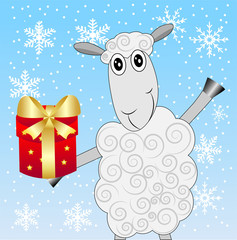merry sheep with a gift on a blue background with snowflakes