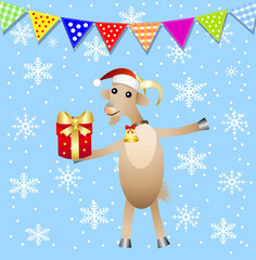 merry goat with a gift and festive garland