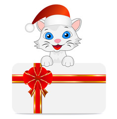 merry kitten in a christmas cap and greeting-card