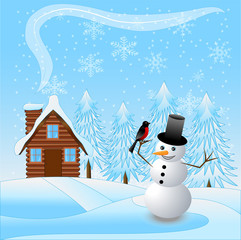 merry snow man with a bullfinch on a background winter landscape