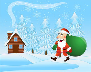 merry Santa claus with the sack of gifts on a background winter
