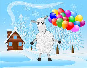 merry sheep with air marbles on a background winter landscape
