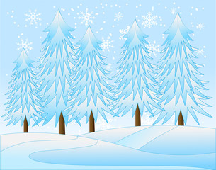 winter landscape with snow-bound trees,  vector  illustration
